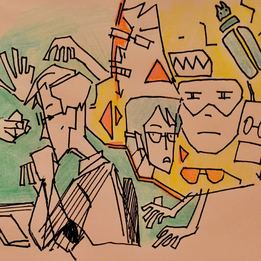 People drawn with angular lines