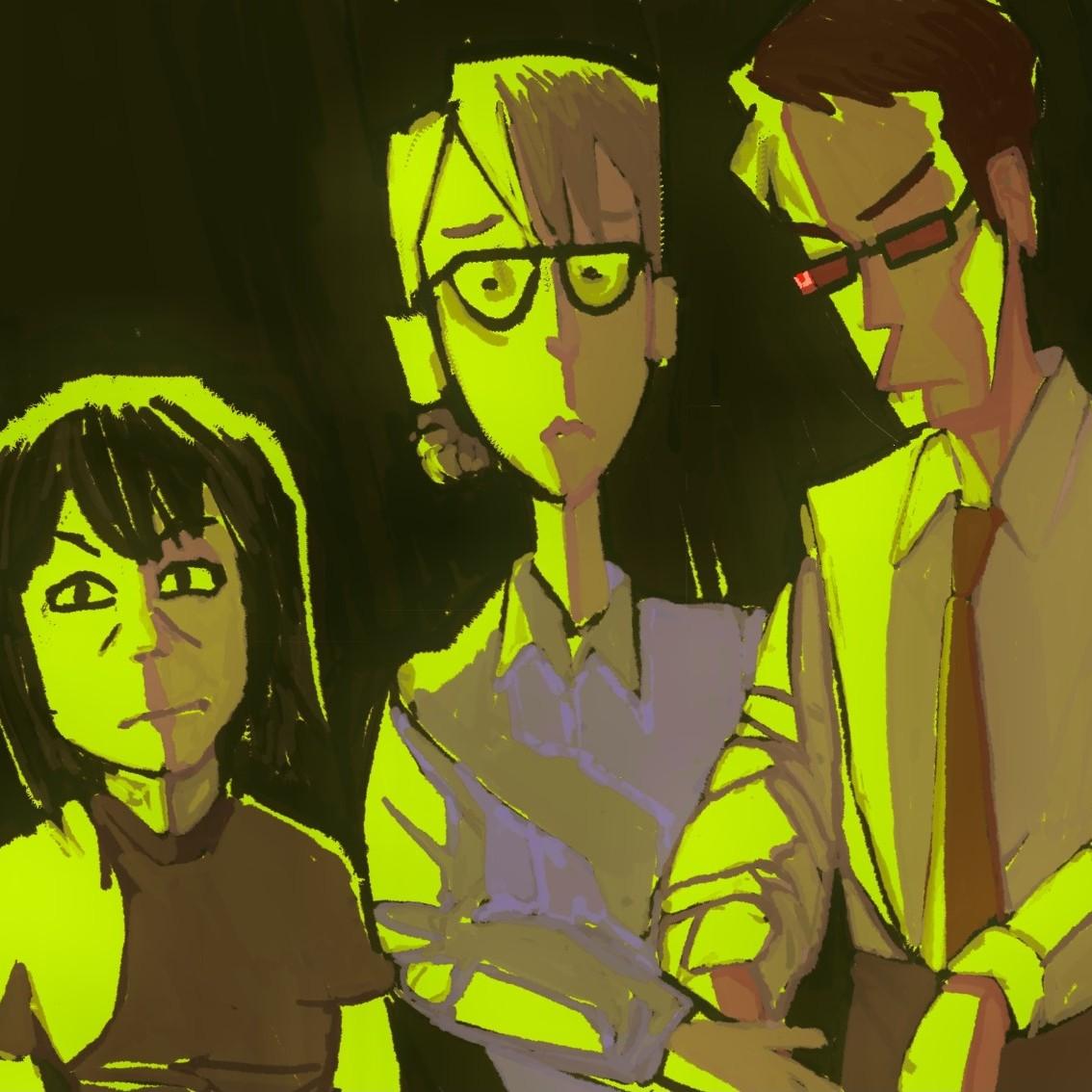 Three garishly colored people