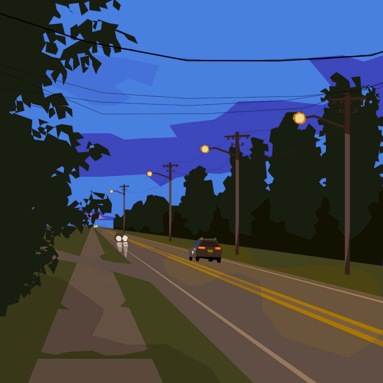 Flat colored shapes of a highway at night