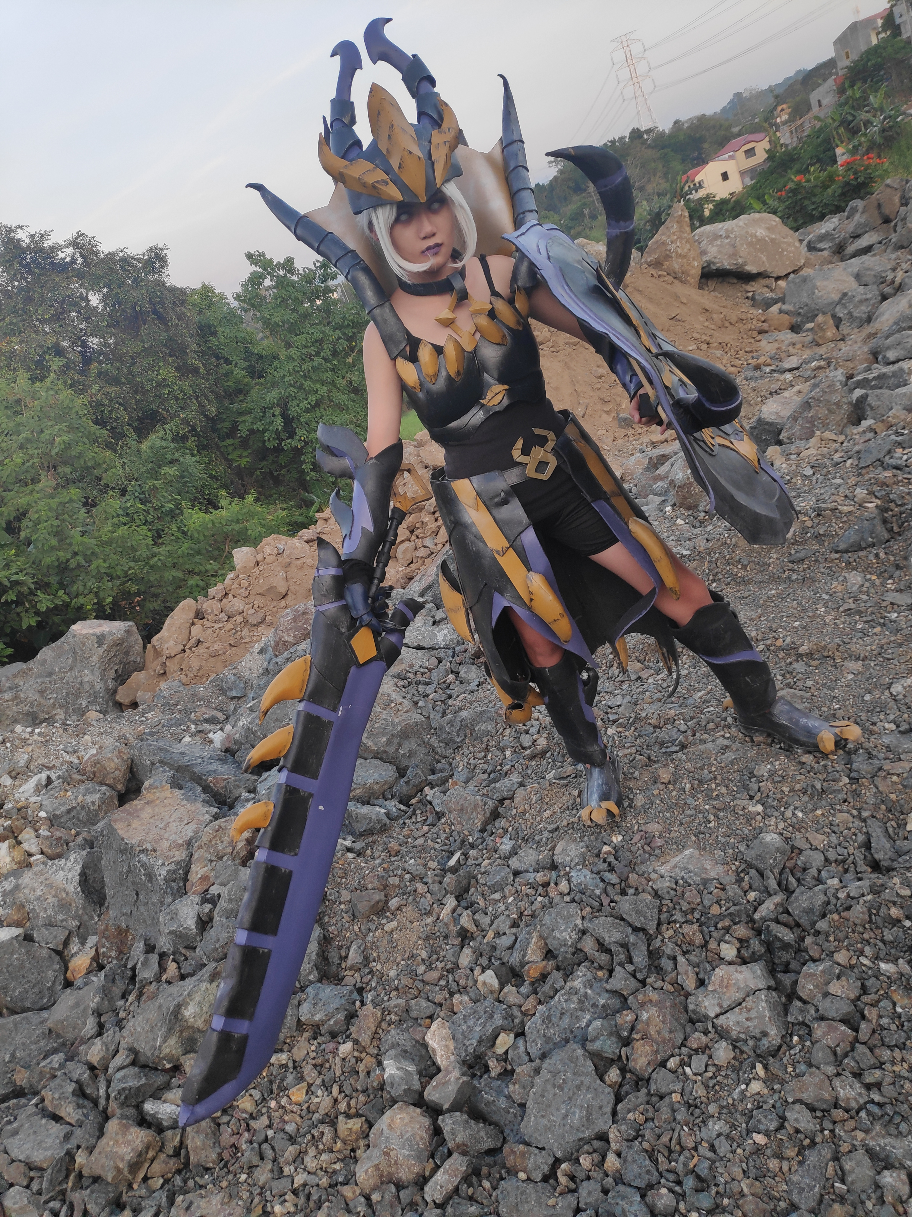 Armored female cosplayer