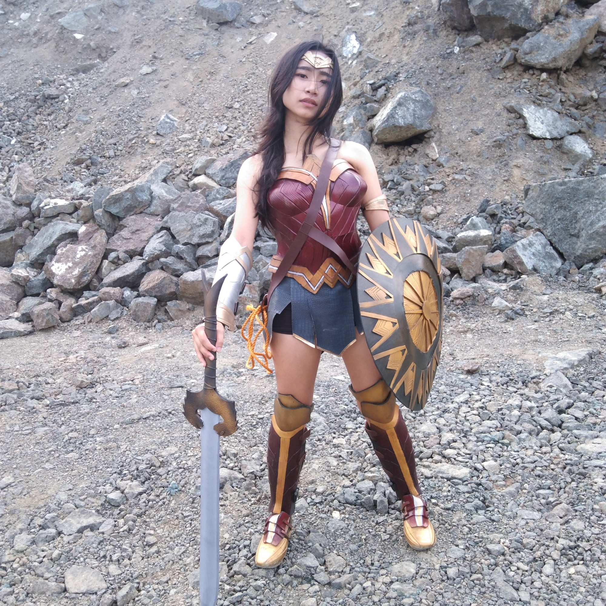 Wonder Woman with sword and shield